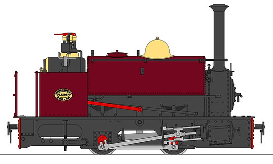 S19-37A Quarry Hunslet 0-4-0ST, Red (32mm)