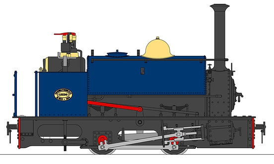 S19-37D Quarry Hunslet 0-4-0ST, Blue (32mm)