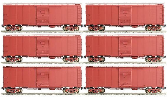 AM32-551 AAR Box Car - Unlettered, Box Car Red, 6 car set