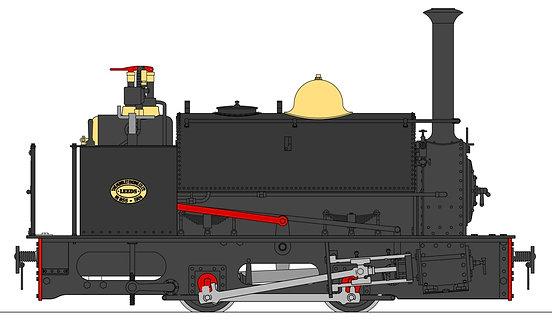 S19-37B Quarry Hunslet 0-4-0ST, Black (32mm)