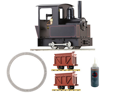 AC77-101-PKG1 Dora, 2 Iron Mountain Coal Cars, 4ft Dia Curve Track, Steam Oil