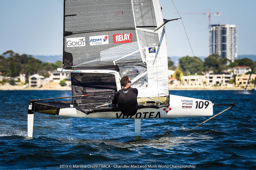 Benoît Marie aux championnats du monde 2019 de Moth à Perth