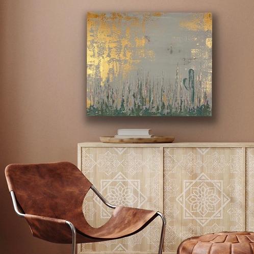 Desert Canvas Art. Southwestern Art. Arizona Cactus Art. Abstract Metallic Art