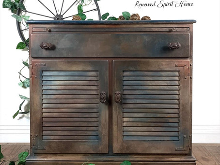 Industrial Farmhouse Faux Metal Buffet Cabinet