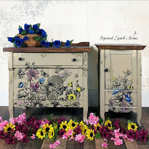 Antique Boho Farmhouse Nightstands. Vintage Dresser Matching Bedside Table.