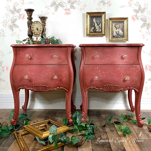 French Bombe Nightstands. Vintage Bombay Chests.  Grunge Bedside Tables.