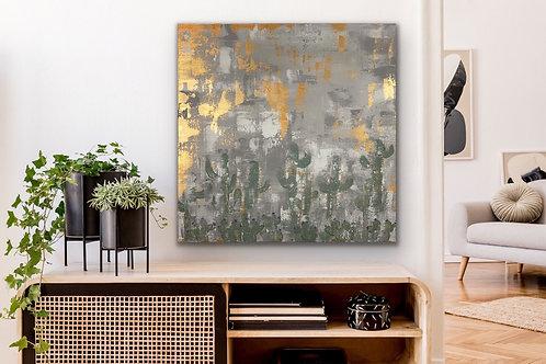 Desert Art. Abstract Canvas Painting. Cactus Art. Desert Landscape Wall Decor.
