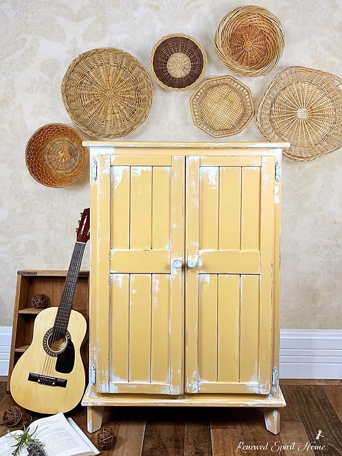Yellow Farmhouse Cabinet. Kitchen Pantry Storage Cabinet. French Country Cabinet