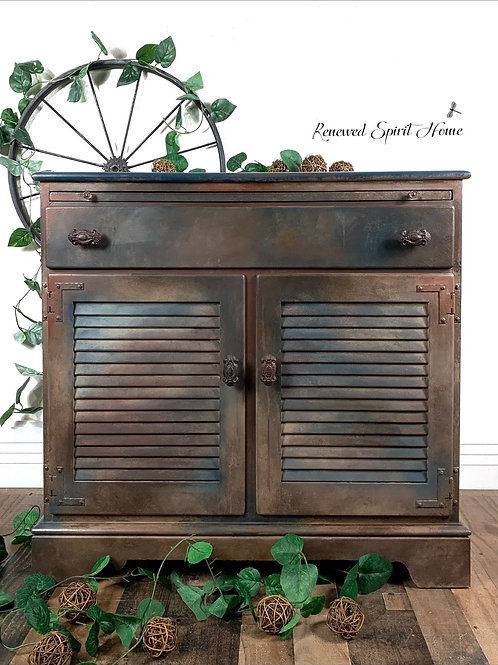 Vintage Rustic Buffet. Industrial Farmhouse Sideboard Cabinet