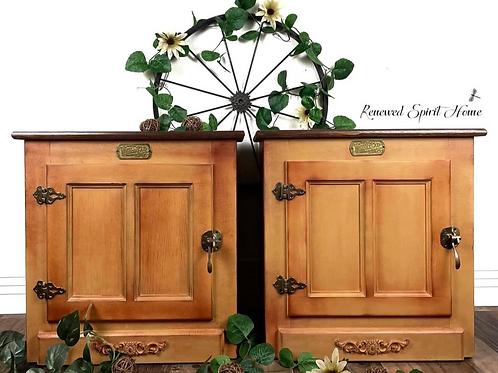 Boho Farmhouse Bedside Tables. Vintage Painted Sunflower Bedroom Nightstands