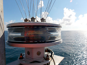 Offshore navigational lantern for wind farm and met mast using a SCADA system