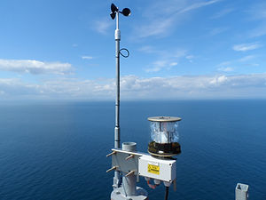 anemometer and avionics lantern on offshore windfarm met mast, obstruction light