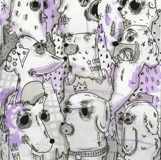 "Purple Dogs WaterColor and Pen on Paper 12x12"" 2019"