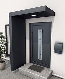 Vordach, Hauseingang-Überdachung beziehungsweise Haustüren Vordach aus Aluminium und hochwertiger LED-Funkbeleuchtung zum Dimmen.