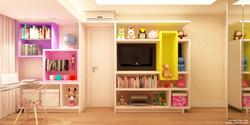 Painel de TV com nichos coloridos