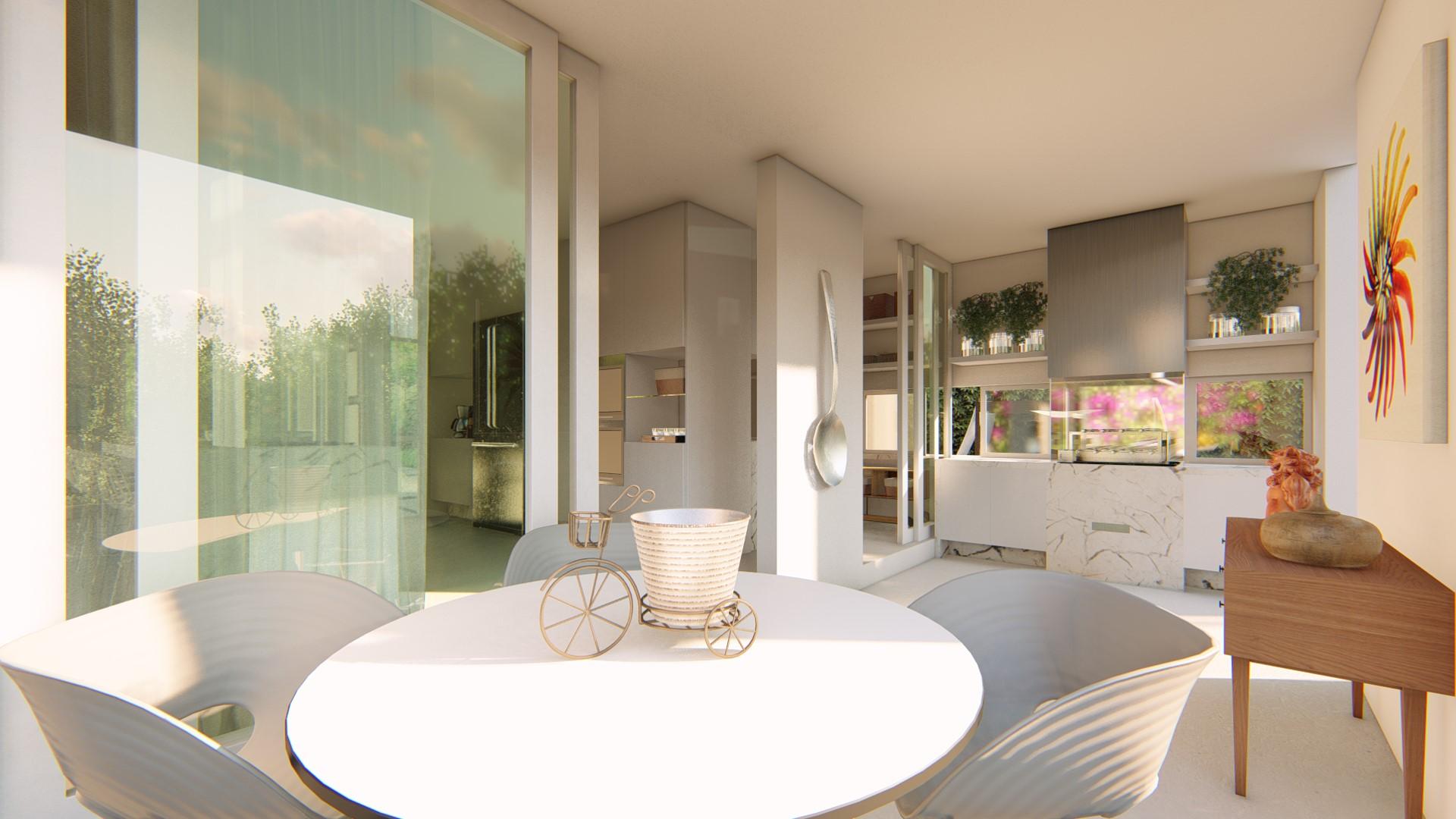 Varanda Gourmet integrada à cozinha e piscina