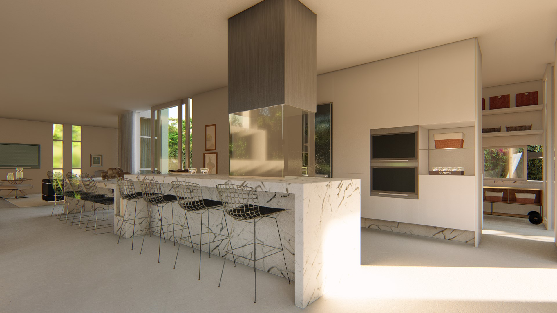 Cozinha integrada com balcão acoplado à mesa