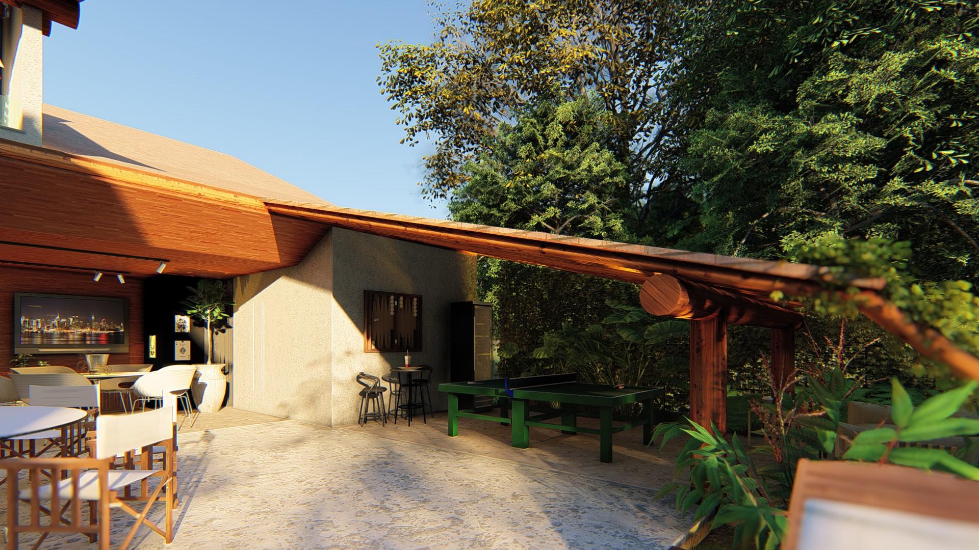 Salão de Jogos sob telhado de eucalipto tratado