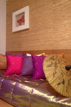 Almofadas de seda coloridas