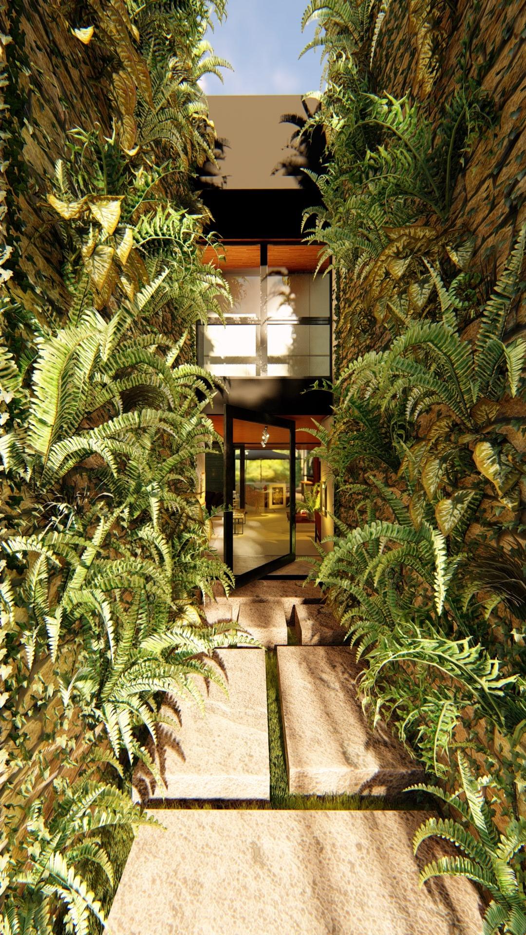 Acesso principal com jardins verticais
