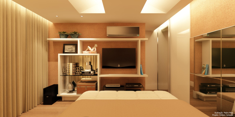 TV em frente à cama com estante entrecortada