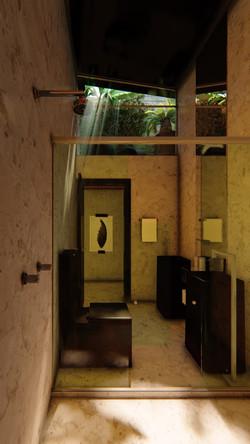 Banheiro Máster com pé-direito duplo