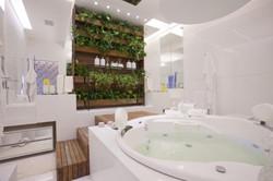 Lustre moderno sobre banheira