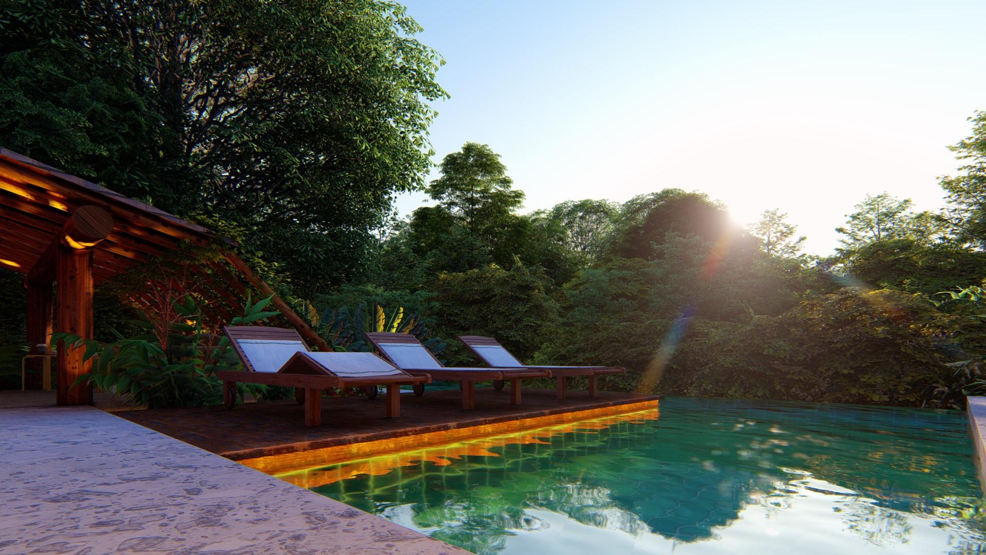Deck de madeira sobre piscina
