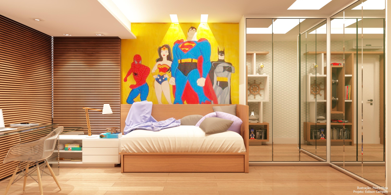 Quarto do filho com painel de super-heróis
