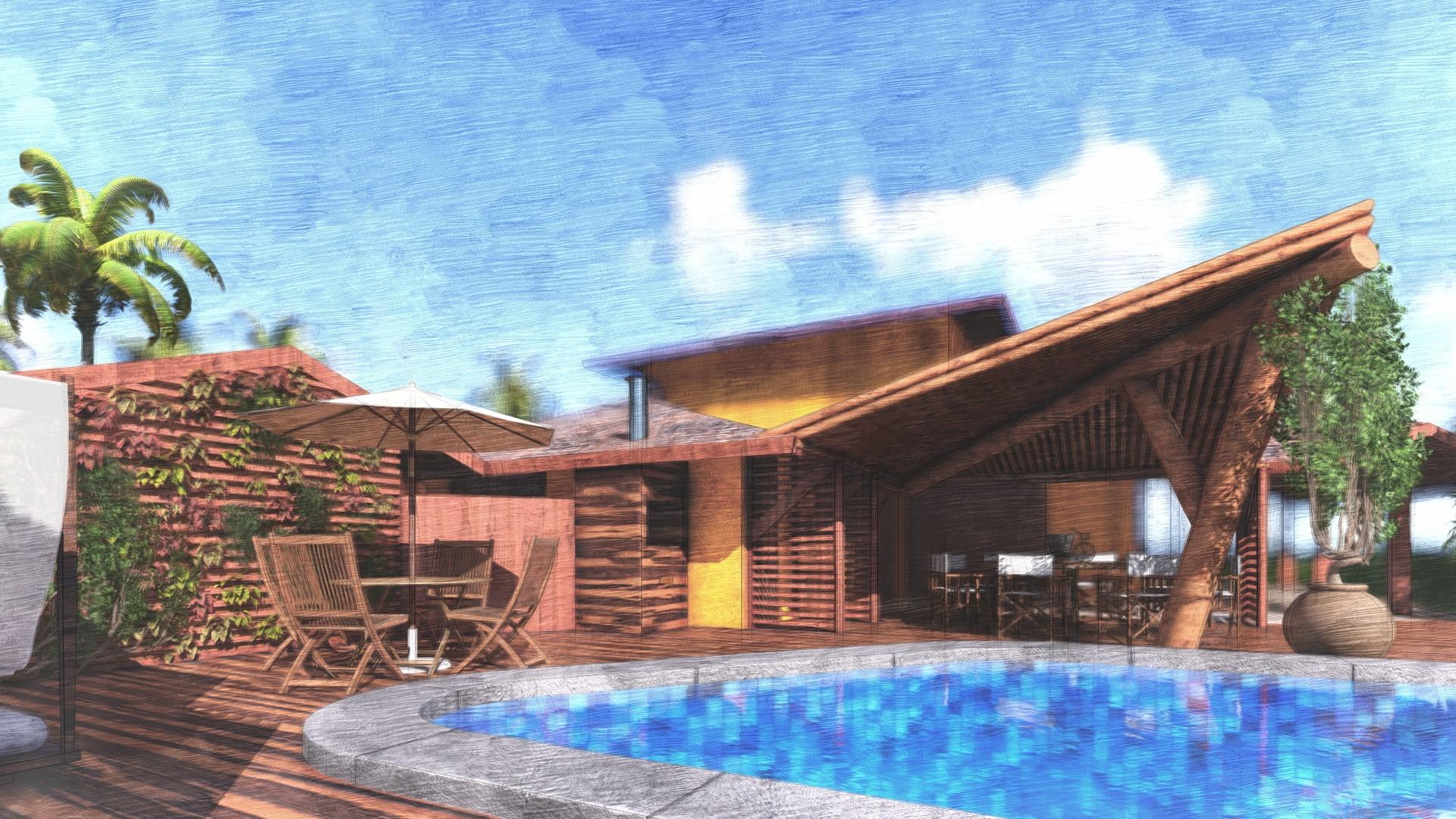 Deck Lounge com jardim vertical