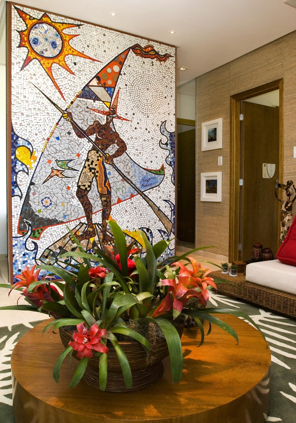 Painel de Mosaico Cerâmico tema pescador
