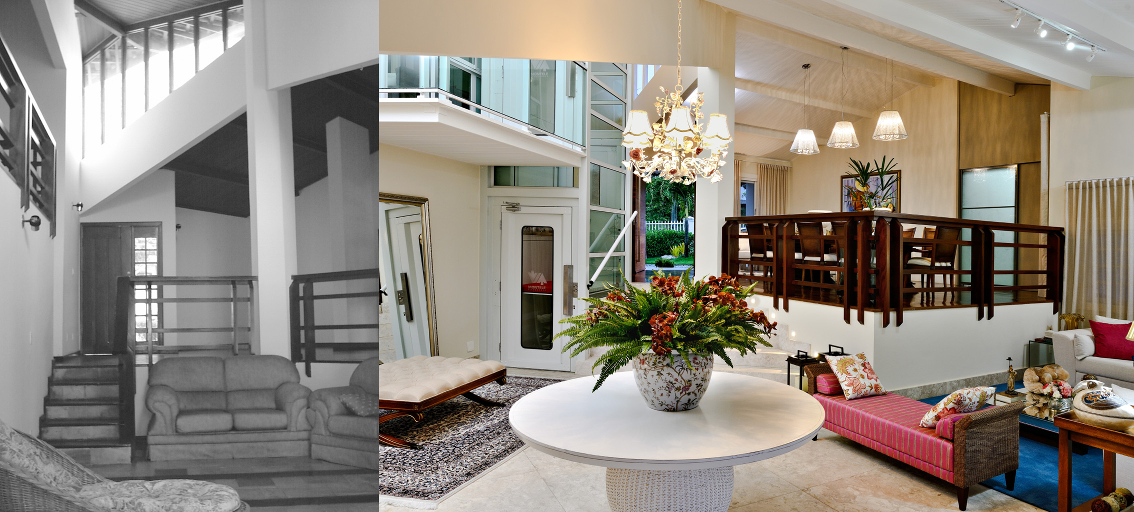 Casa em meios-níveis com elevador panorâmico