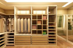 Closet masculino integrado ao feminino