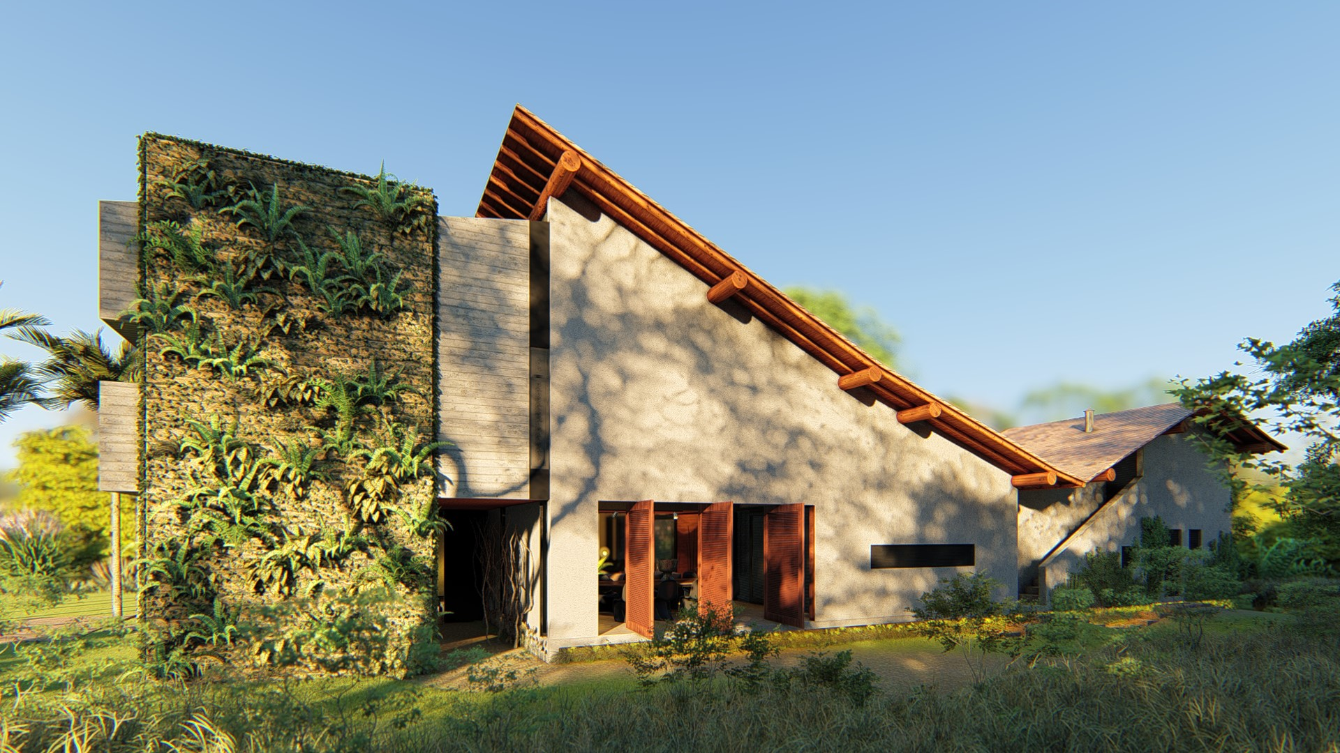 Fachada lateral com recortes de telhado