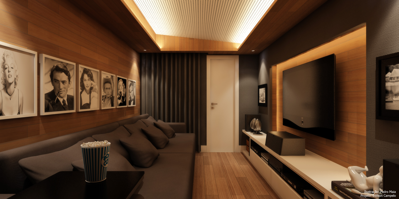 Home Theater em madeira e grafite