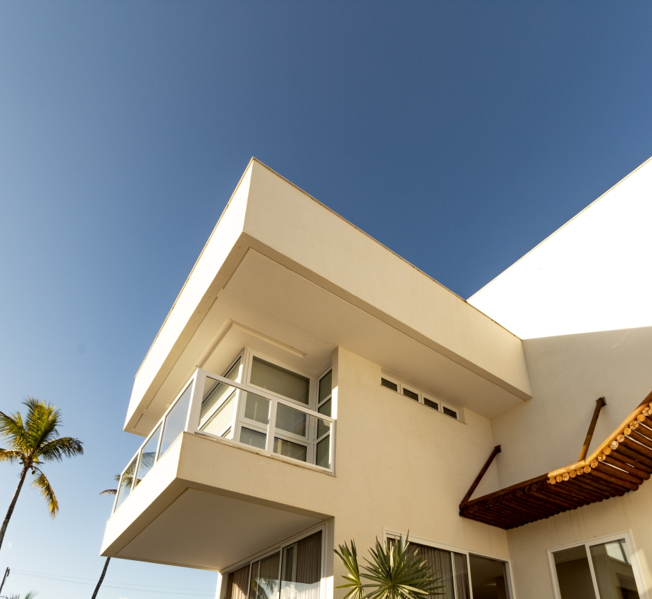Marquise com platibanda para cobertura de varanda superior