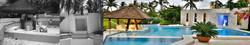 Bar da piscina submerso com telhado de taubilha
