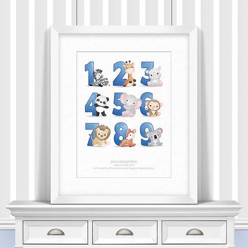 Animal Numbers Nursery Wall Art   Little Joe And Me