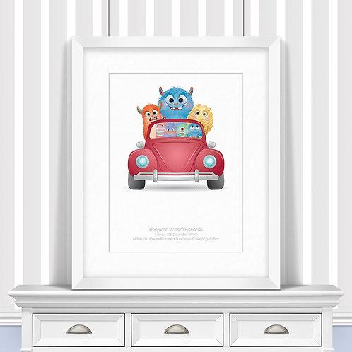 Monsters Drive Nursery Wall Art | Little Joe And Me