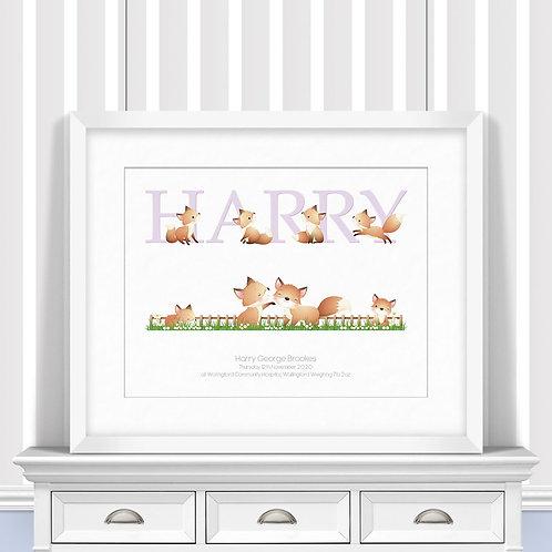 Foxes Nursery Wall Art   Little Joe And Me