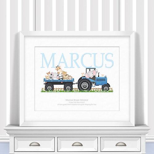 Tractor Friends Nursery Wall Art   Little Joe And Me