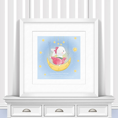 Moon Bunny Nursery Wall Art | Little Joe And Me