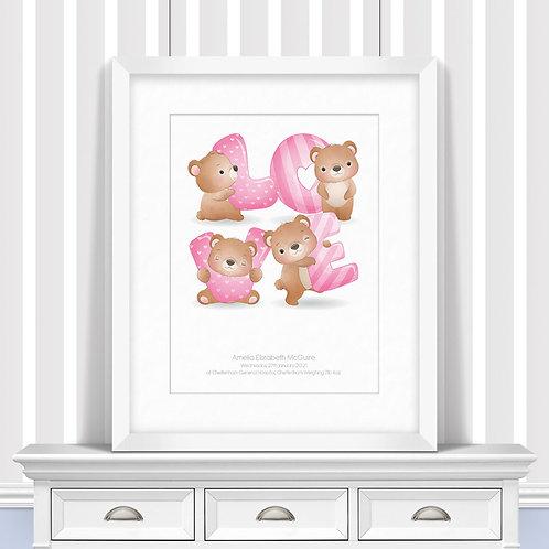 Bearly Love Nursery Wall Art | Little Joe And Me