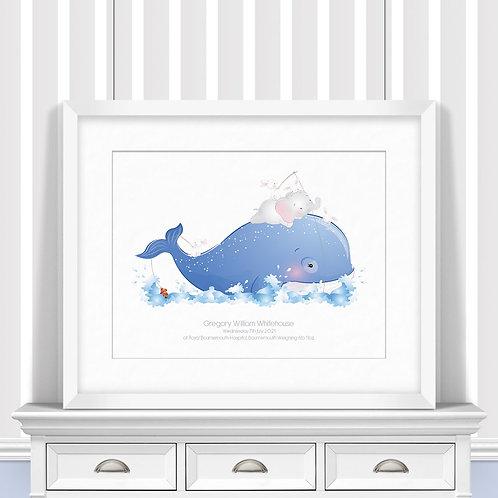 Moby Dick Nursery Wall Art   Little Joe And Me