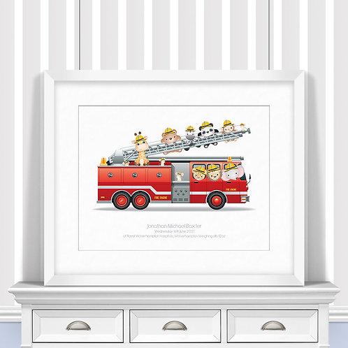 Fire Engine Nursery Wall Art | Little Joe And Me