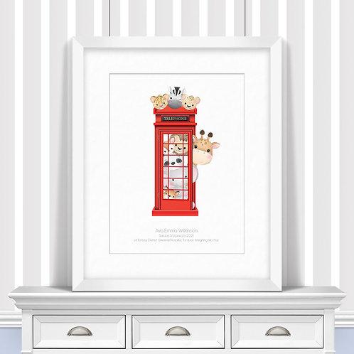 Telephone Booth Nursery Wall Art | Little Joe And Me