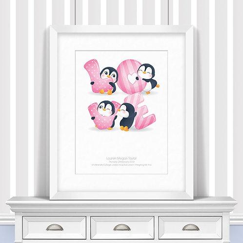 Penguin Love Letters Nursery Wall Art | Little Joe And Me
