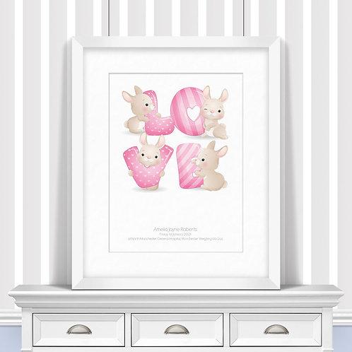 Rabbit Love Letter Nursery Wall Art   Little Joe And Me