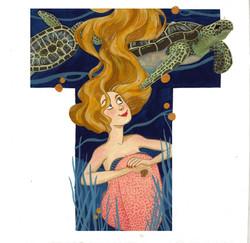 Turtles swimming overhead