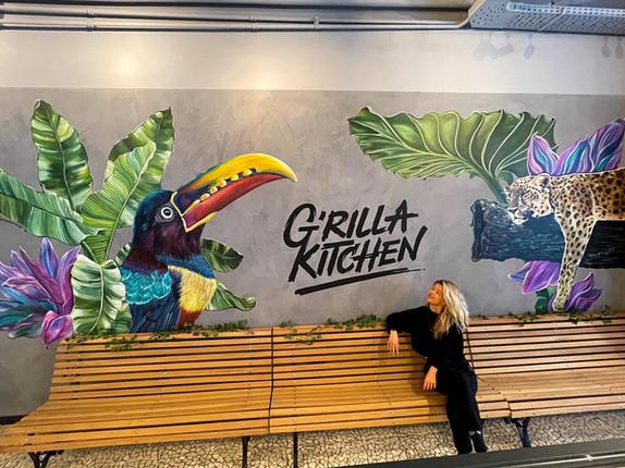 Colorful Jungle-themed Mural at G'rilla Kitchen